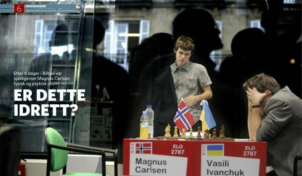 TOPPIDRETT: Magnus Carlsen var ikke i tvil om at han bedriver en idrett da han ble spurt i Sportmagasin-intervjuet i 2008. Faksimile: Sportmagasinet