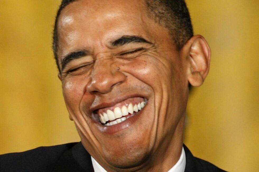 GLAD VINNER: Dette bildet ble tatt av Barack Obama på pressekonferansen i går der han kommenterte prisutdelingen. Foto: REUTERS/Jim Young/Scanpix