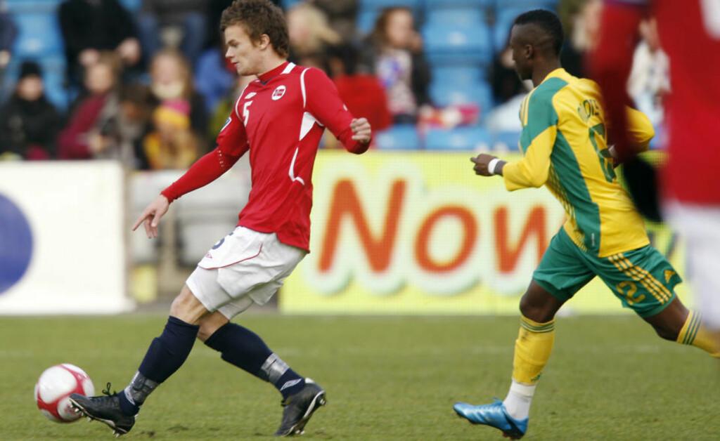 DEBUTERTE: Moldes Knut Olav Rindarøy holdt seg til det sikre i sin første kamp for det norske landslaget, men er fornøyd med debuten mot Sør-Afrika. Foto: Heiko Junge / Scanpix