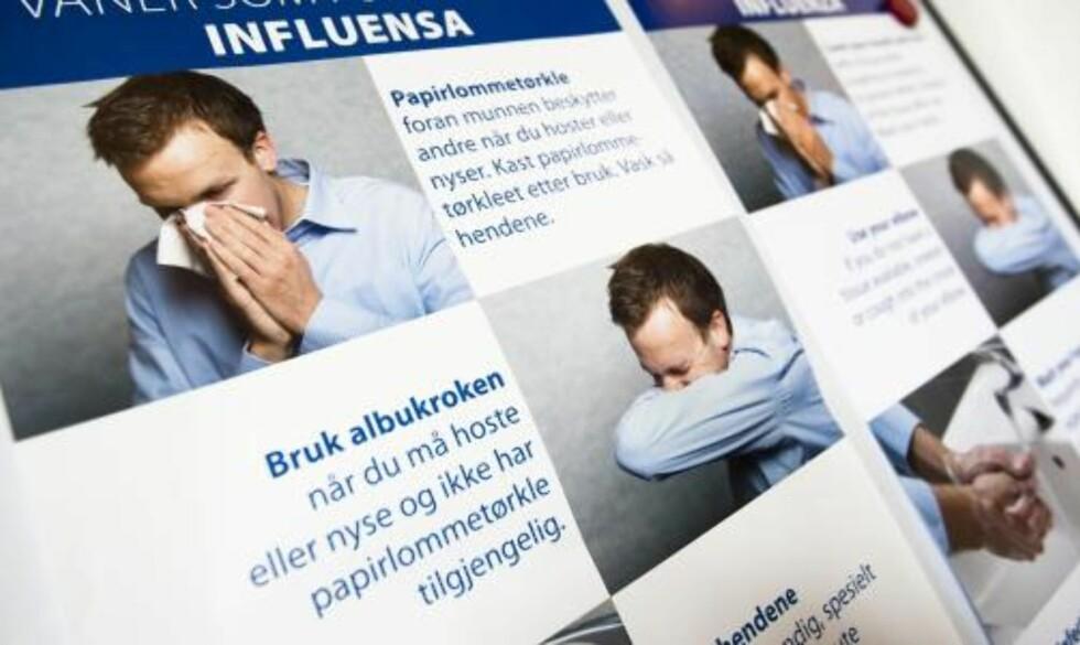 FORHOLDSREGLER:  Informasjonsmateriell fra helsemyndighetene om forholdsregler i forbindelse med influensa A (H1N1 / Svineinfluensa ). Foto: SCANPIX