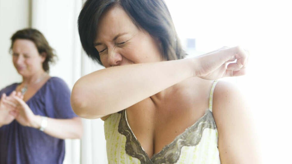 """IKKE SLIK: Bruk heller lommetørkle, sier spesialist. Mange er bekymret for å bli smittet av influensa og den mye omtalte """"svineinfluensaen"""". Når det nyses er det greit å holde litt avstand. Illustrasjonsfoto: Berit Roald/SCANPIX"""