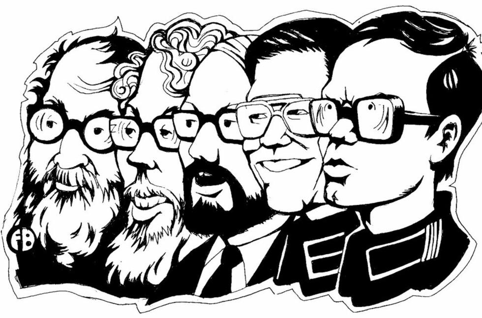 DE FEM STORE I DEN NORSKE ML-BEVEGELSEN: Tron Øgrim, Dag Solstad, Sigurd Allern, Finn Sjue og Pål Steigan. Tegning: FrancescoBentivegna