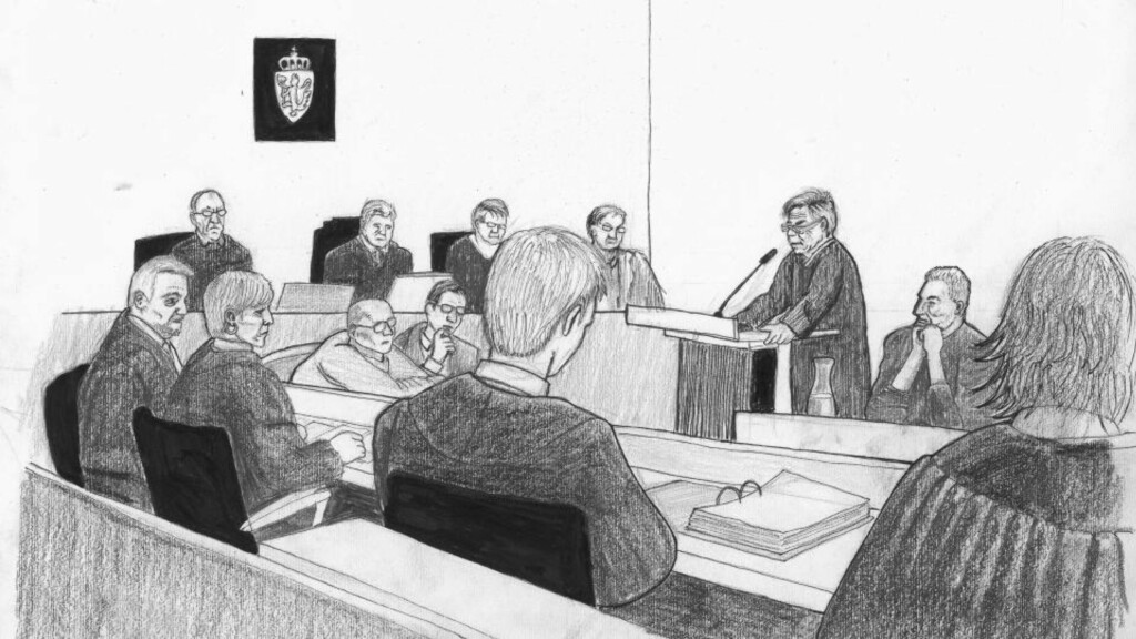 FORTSETTER I RETTEN: Lommemannen skal bruke dagen i retten til å fortelle om sitt liv. Tiltalte sitter på tegningen ved siden av sin forsvarer Gunhild Lærum som taler i retten. Ill.: Pablo Castro / Scanpix