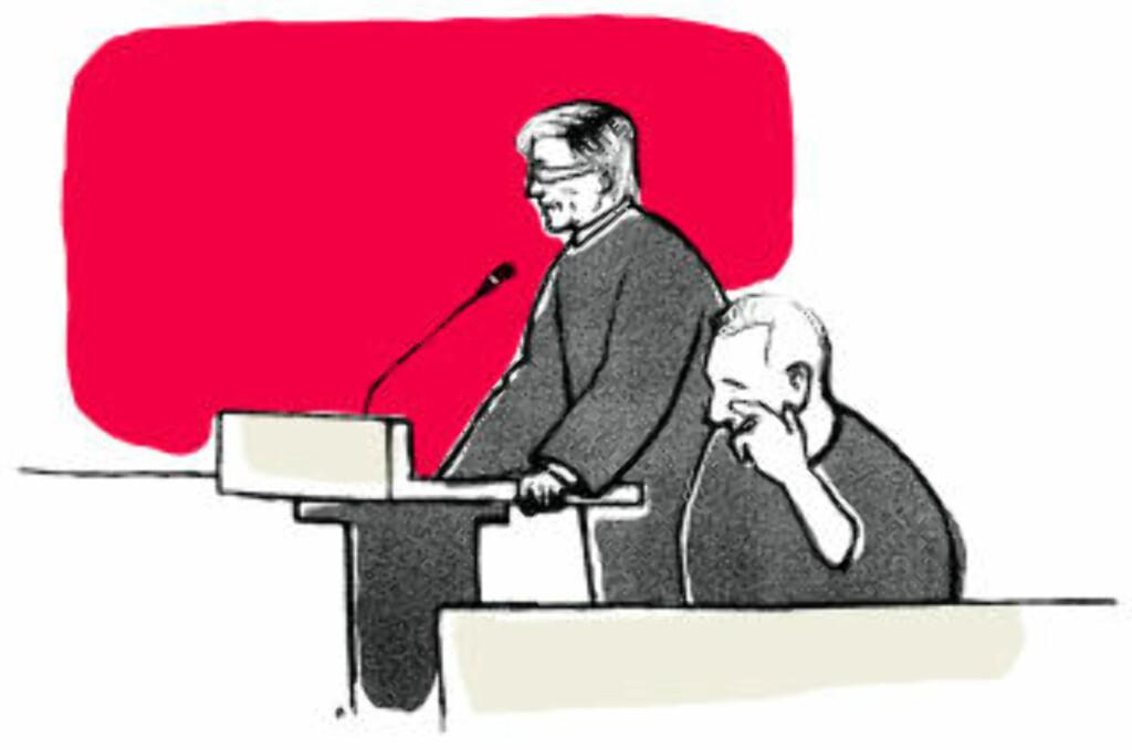 UNNSKYLDER SEG: Erik Andersen fortalte sin livshistorie i går. I løpet av sin forklaring unnskyldte han seg oerfor ofrene flere ganger. Tegning: Ørjan Jensen