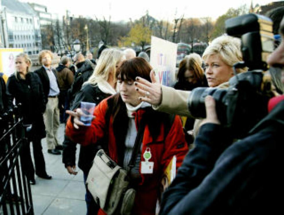 I FJOR: For akkurat ett år siden inviterte Siv Jensen de narkomane inn på Stortinget på boller og kaffe. Foto: Jacques Hvistendahl