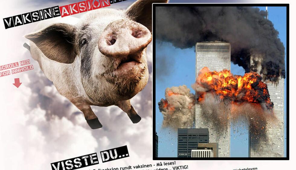 MISLIKER MYNDIGHETER: Flere av de involverte i denne ukas antivaksinekampanje mener også at terrorangrepene 11. september 2001 var en «innsidejobb» eller jødisk konspirasjon, og at ulike kosttilskudd og «sølv-vann» er mer effektivt enn vaksinering. Montasje: Dagbladet
