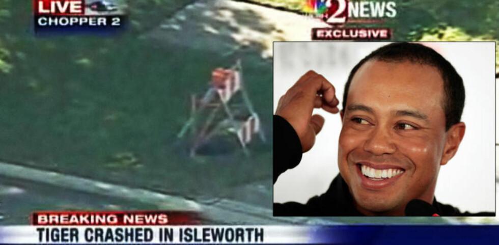 RYKTEFLOM: Tiger Woods traff en brannhydrant og et tre da han forlot hjemmet sitt i sin Cadillac Escalade 2009-modell halv tre natt til fredag amerikansk tid. Eoods har ikke uttalt seg offentlig etter ulykken. Bildet er tatt utenfor huset hans etter uhellet. Foto: WESH-TV/AP/Scanpix