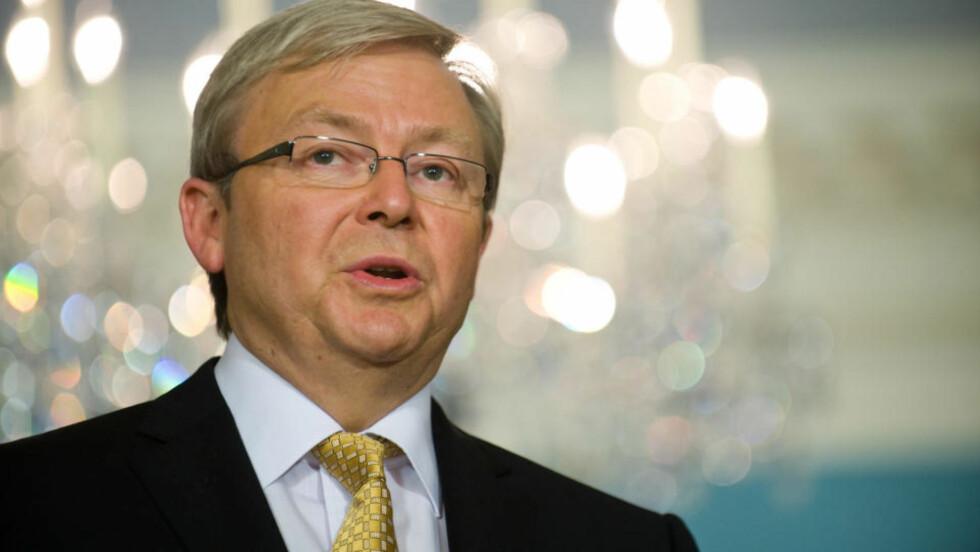 INGEN JULEGAVER:   Autsralias statsminister Kevin Rudd kommer til klimatoppmøtet i København uten noe å love bort. Nasjonalforsamlingen har satt foten ned for kvotehandel.  Foto:AFP/SCANPIX.