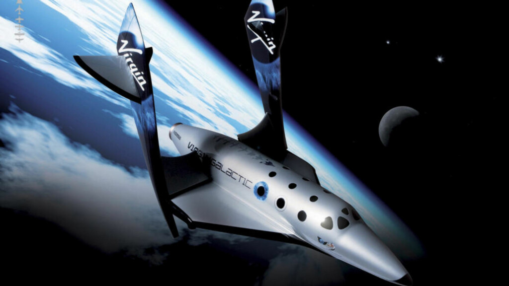 ROMTURISME: llustrasjon av romferja SpaceShipTwo, som vil kunne fly turister ut i verdensrommet om halvannet år, dersom milliardæren Richard Branson får det som han vil. Illustrasjon: REUTERS / Thierry Boccon-Gibod / Courtesy Scaled Composites / Virgin Galactic / SCANPIX