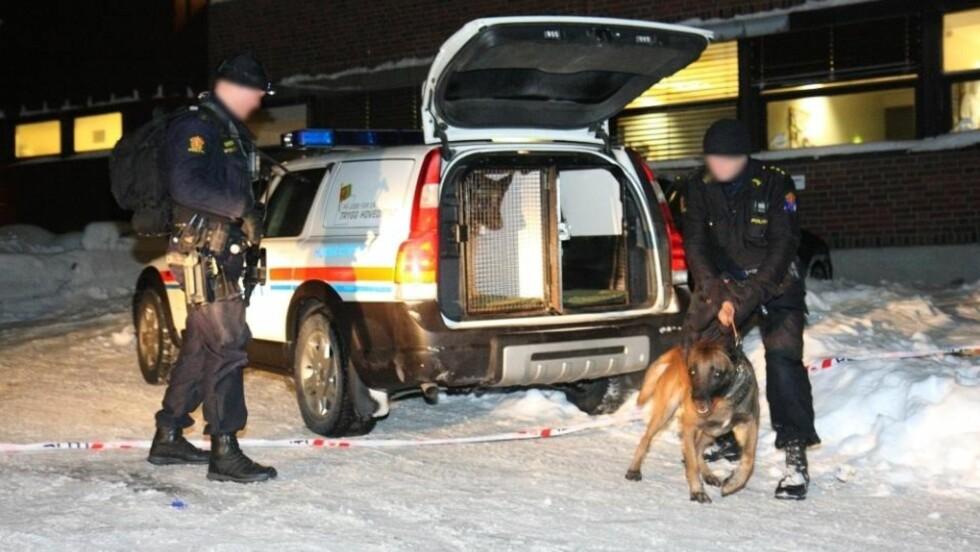 JAKTER BINGO-RANERE:  Bevæpnede betjenter fra Oslo politidistrikt hadde med seg hunder i forsøket på å fakke bingo-ranerne i kveld. Men de fem-seks ranerne er fortsatt på frifot. Foto: Svein Gustav Wilhelmsen