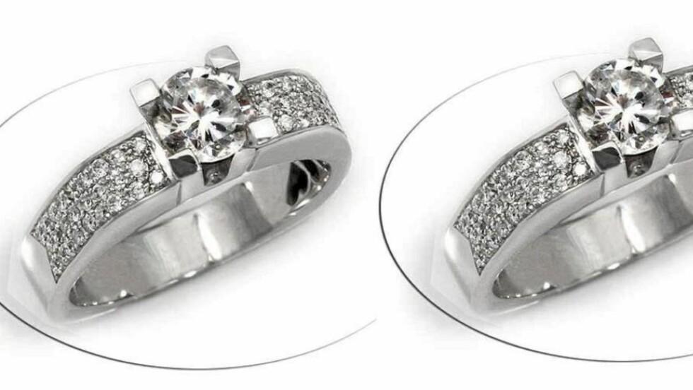 DIAMANT: Den ene av disse ringene har en naturlig diamant, den andre er prydet med zirkonia. Foto: Gullbutikken.no