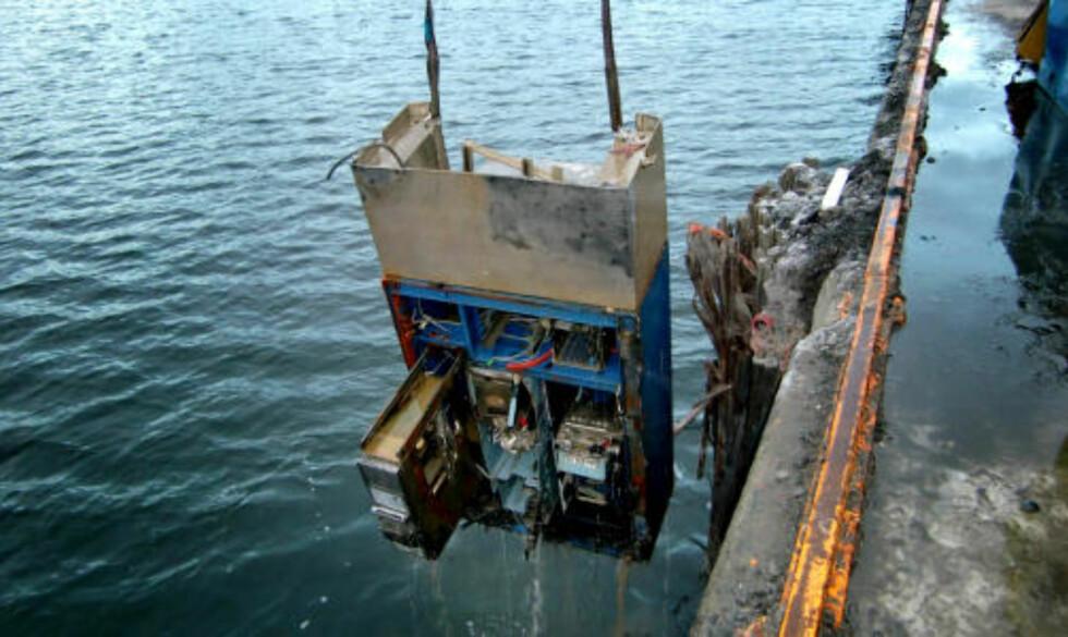 DUMPET: Flere av automatene ble funnet i Oslos havnebasseng. Foto: Securitas.