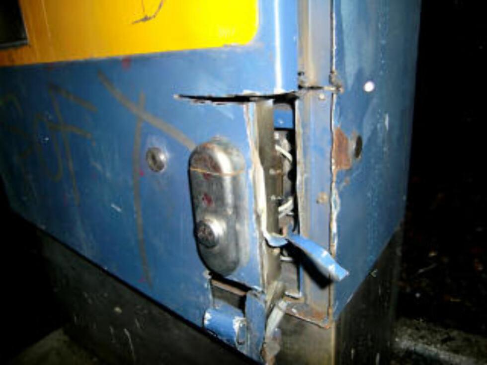 ENDRET METODE: Da automatbandens bil ble beslaglagt av politiet, endret skurkene metode. Låsen ble skåret opp med skjærebrenner. Foto: Securitas.