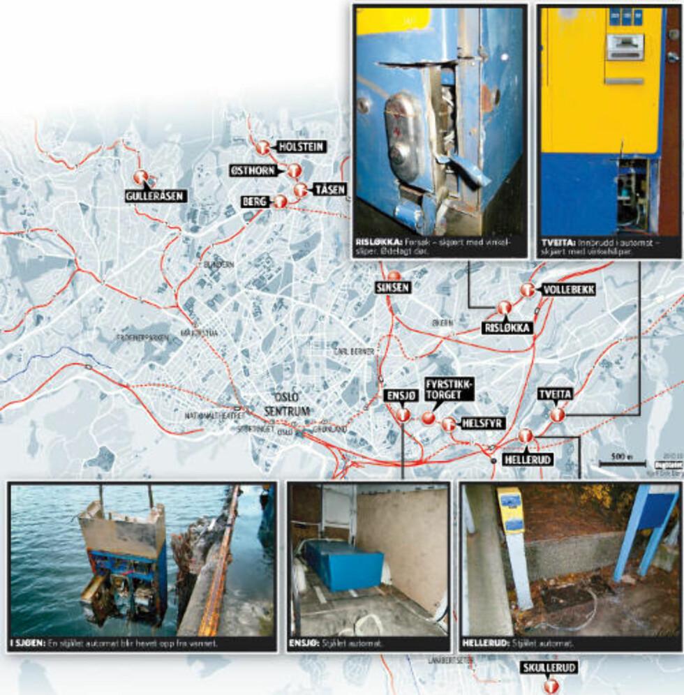23 TILFELLER: Ruter har registrert 23 tilfeller av tjuveri, plyndring og forsøk på tjuveri i sine automater siden juli 2009. Grafikk: Kjell Erik Berg /Dagbladet.