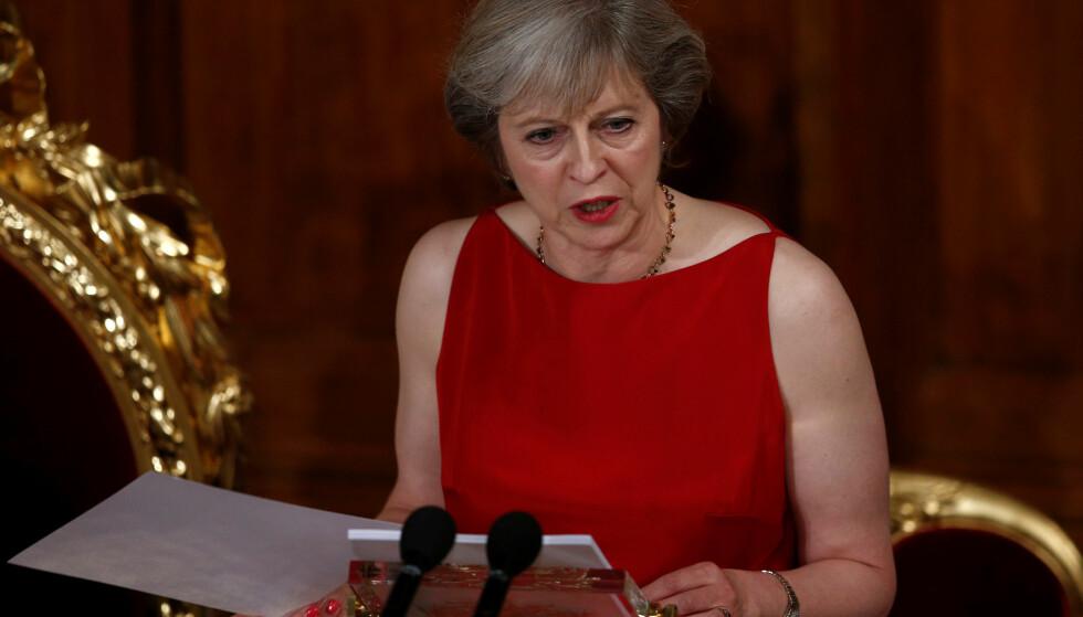 BREXIT: Et dokument viser at Storbritannia ikke har en klar plan for brexit, og at det kan ta seks måneder før regjeringen blir enig om en strategi. Dette er bilde av statminister Theresa May. Foto: Reuters / NTB Scanpix