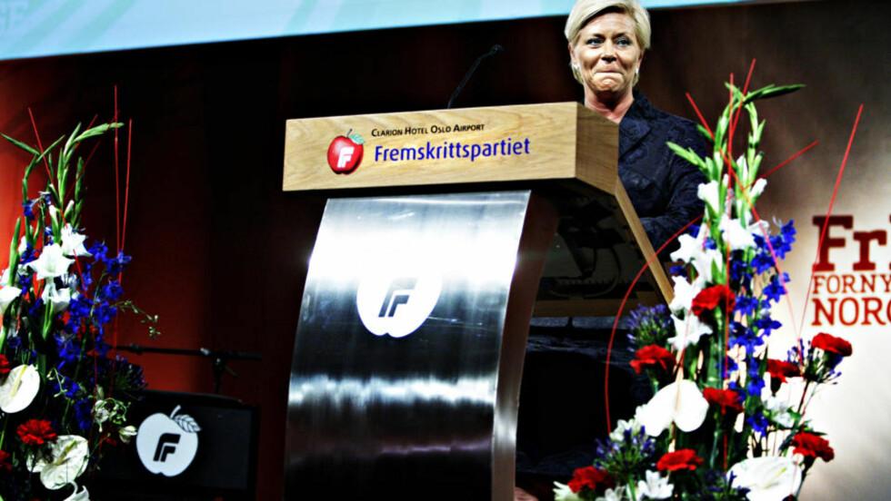 LANDSMØTETALE: Siv Jensen holdt fredag ettermiddag sin første tale som partileder, ikke partiformann. Foto: NINA HANSEN