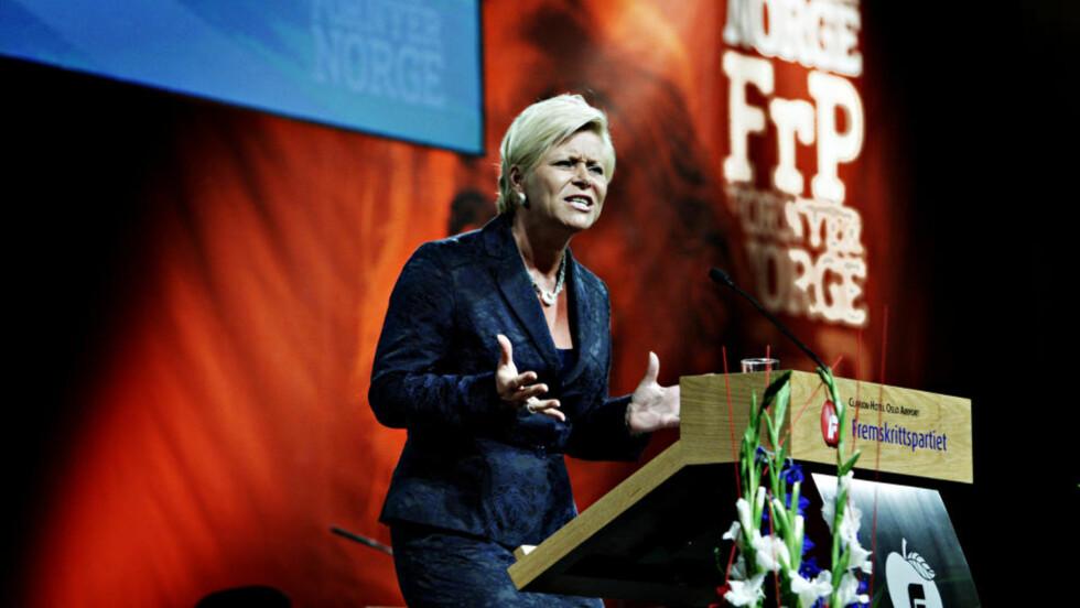 KVINNEKAMP: Kvinnenes rettigheter var i fokus under Siv Jensens tale til Fremskrittspartiets landsmøte. Foto: NINA HANSEN