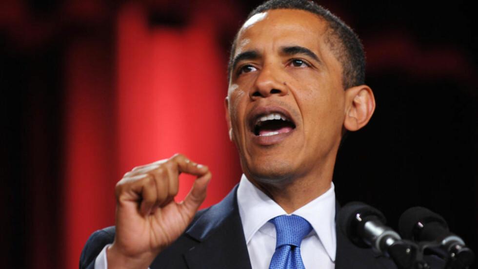 TALTE I EN TIME: Barack Obama talte i over en time til 3000 inviterte gjester på Kairo-universitetet i Egypt. Foto: AFP PHOTO/MANDEL NGAN/SCANPIX