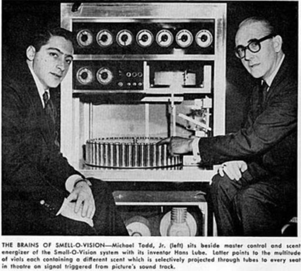 ORIGINALEN: Smell-O-Vision var en spektakulær flopp i 1960. Nå gjør ideen comeback - dog i en mindre skala. FOTO: FAKSIMILE