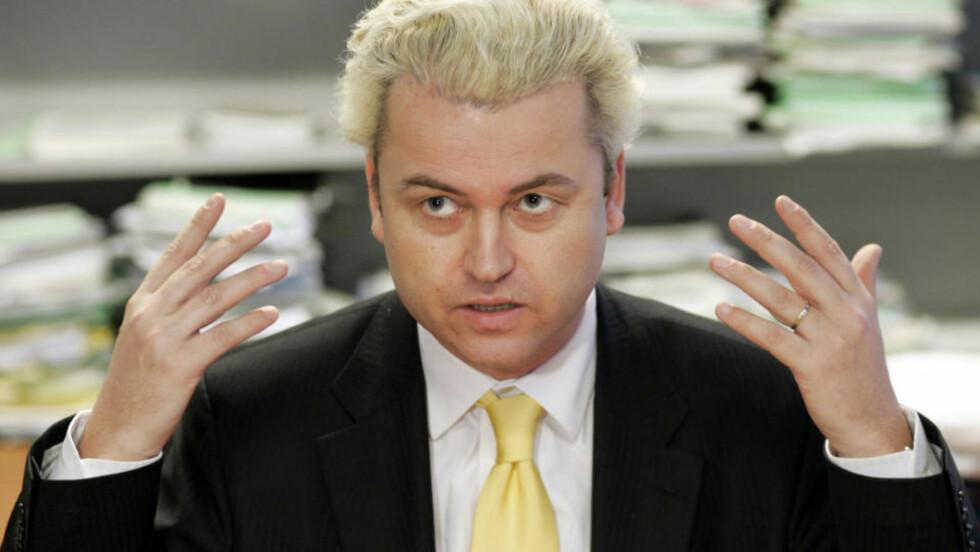 GEERT WILDERS: Nederlenderens høyreorienterte, islamkritiske parti fikk 17 prosent av stemmene under valget til Europaparlamentet i forrige uke. Partiet hans er motstandere av Europaparlamentet.  Foto: AP/Fred Ernst