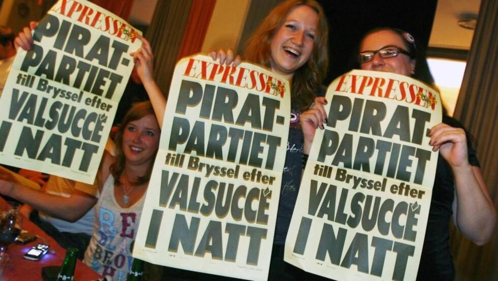 OPPSIKTSVEKKENDE VALGRESULTAT: Piratpartiet får minst én, kanskje tre, plasser i EU-parlamentet. FOTO: SCANPIX