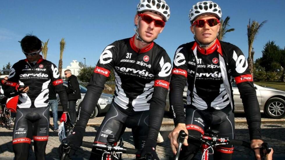 DOBBELT NORSK? Thor Hushovd (t.h.) er selvskreven på Cervelos lag i Tour de France. Men også Gabriel Rasch kan få en plass på det sveitsiske laget. Han er en av 12 som kjemper om 9 plasser. Foto: Luis Forra, EPA/Scanpix