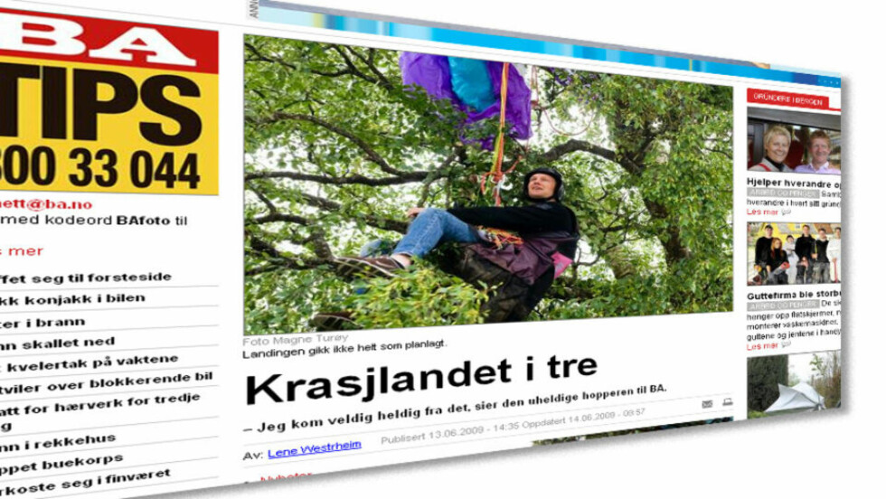 LURESAK: På BA.no i går og i dagens papirutgave av Bergensavisen. Faksimile: BA