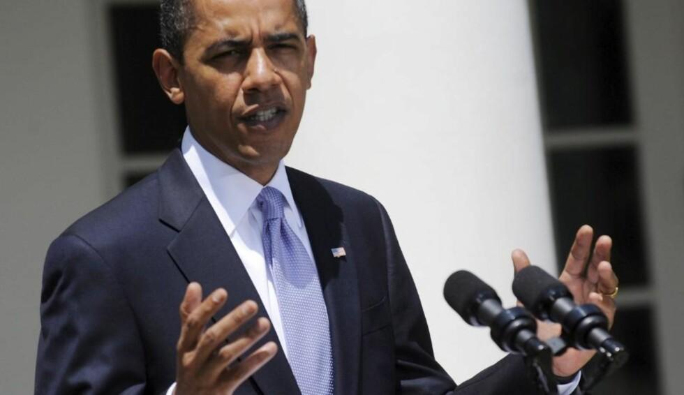 POSITIVT:  President Barack Obama - her fra en pressekonferanse i Det hvit hus sist fredag - kom i kveld med positive signaler til det israelske utspillet.  Foto: EPA/SCANPIX.