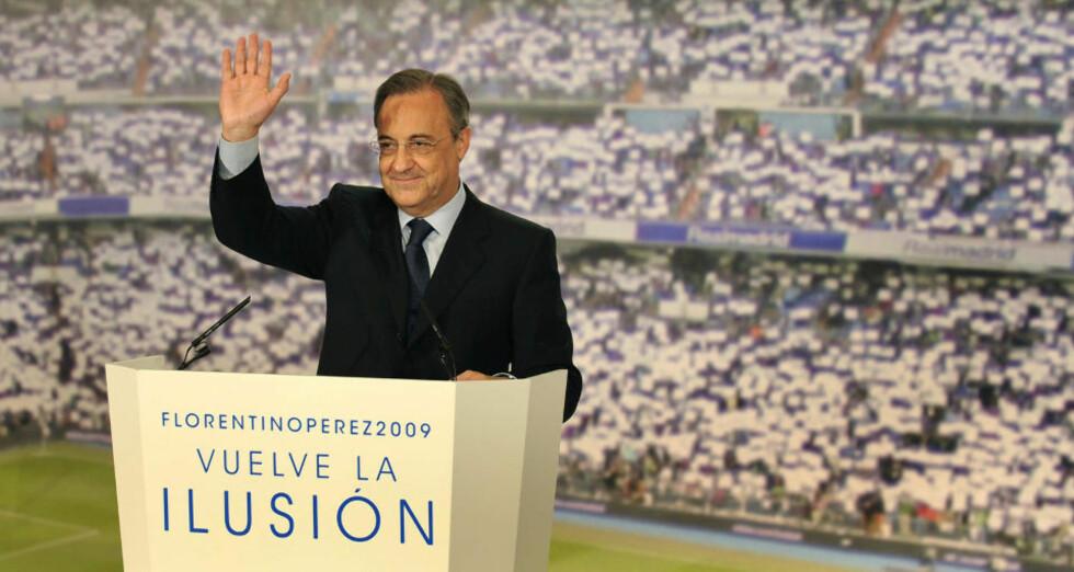 VALGFLESK: Florentino Perez sparte ikke på valgløftene under presidentvalgkampen i Real Madrid - og så langt har han innfridd løftene. Foto: AFP