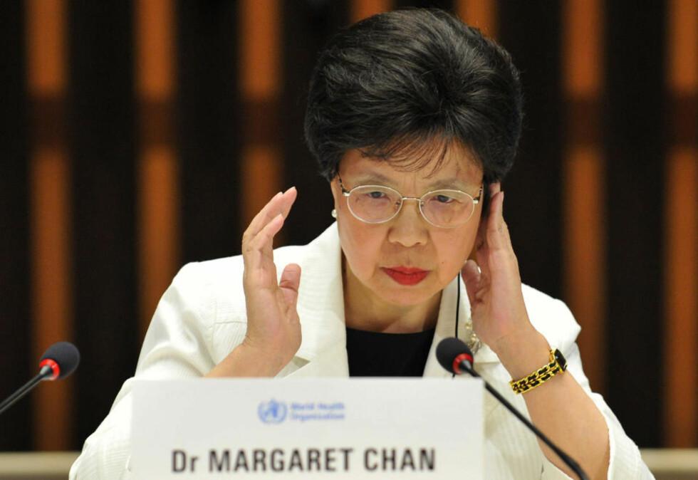 Sjef for de dårlige nyhetene: Direktøren i Verdens helseorganisasjon advarer mot å tro at svineinfluensaen ikke er en alvorlig trussel.Foto: FABRICE COFFRINI/AFP