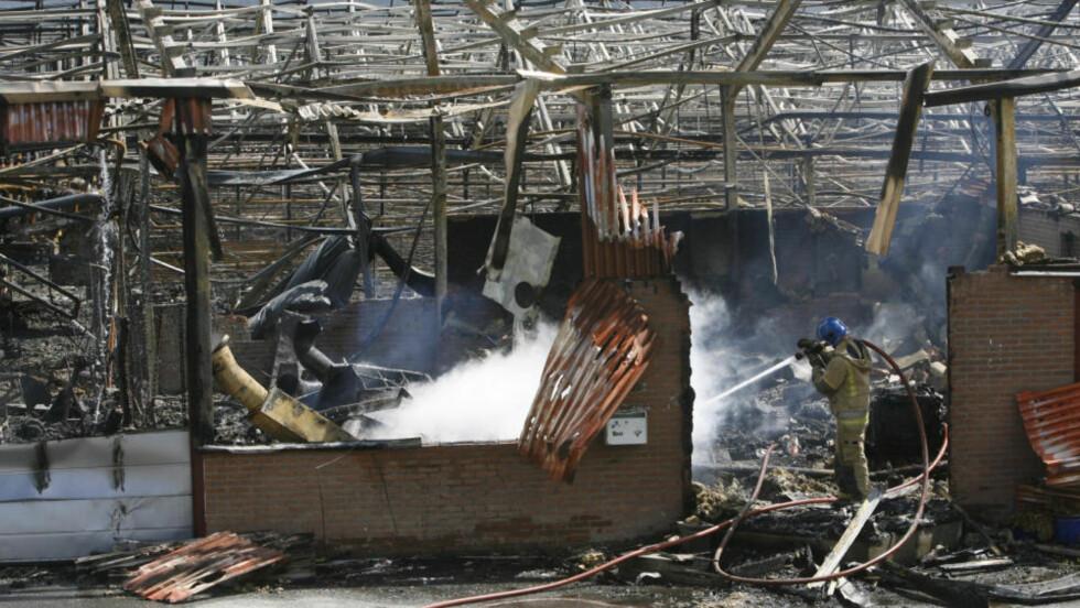 BRANT: F. Dalene Gartneri brant ned i går kveld. Foto: Torbjørn Berg