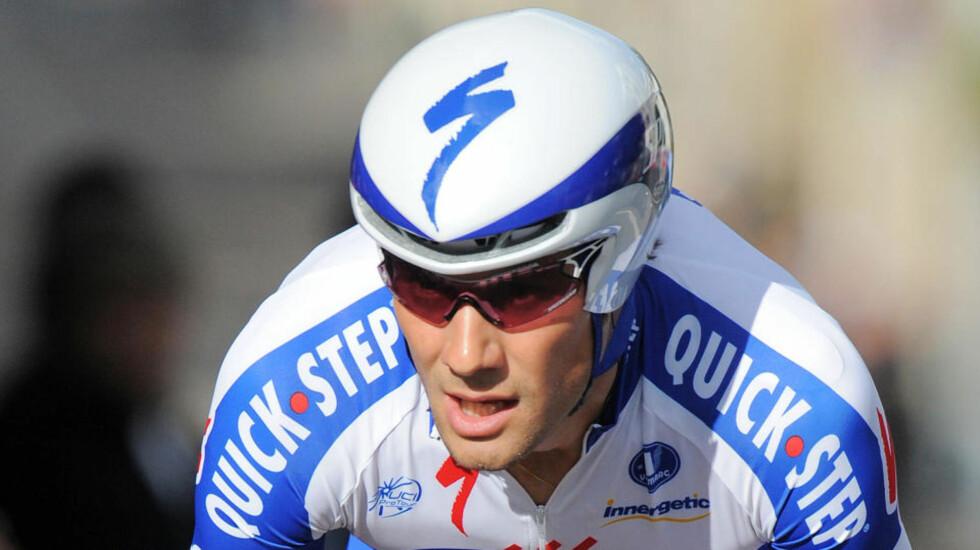 BLE UTESTENGT: Men Tom Boonen nekter å innfinne seg med startnekten i Tour de France. Foto: Patrick Herzog / AFP.
