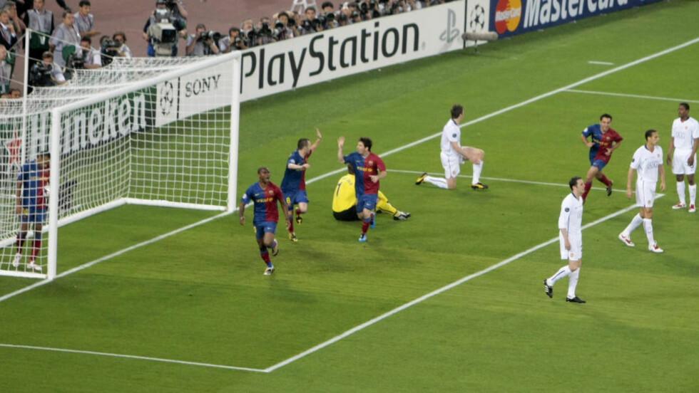 NETTET I FINALEN: Barcelonas Samuel Eto'o tuppet inn 1-0 i Champions League-finalen. Nå er katalanerne klare for å selge spissen til Manchester City. Foto: AP/Alessandra Tarantino