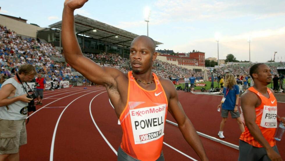 FAVORITTSEIER: Den tidligere verdensrekordinnehaveren Asafa Powell vant 100-meteren på Bislett. Foto: Lise Åserud / SCANPIX