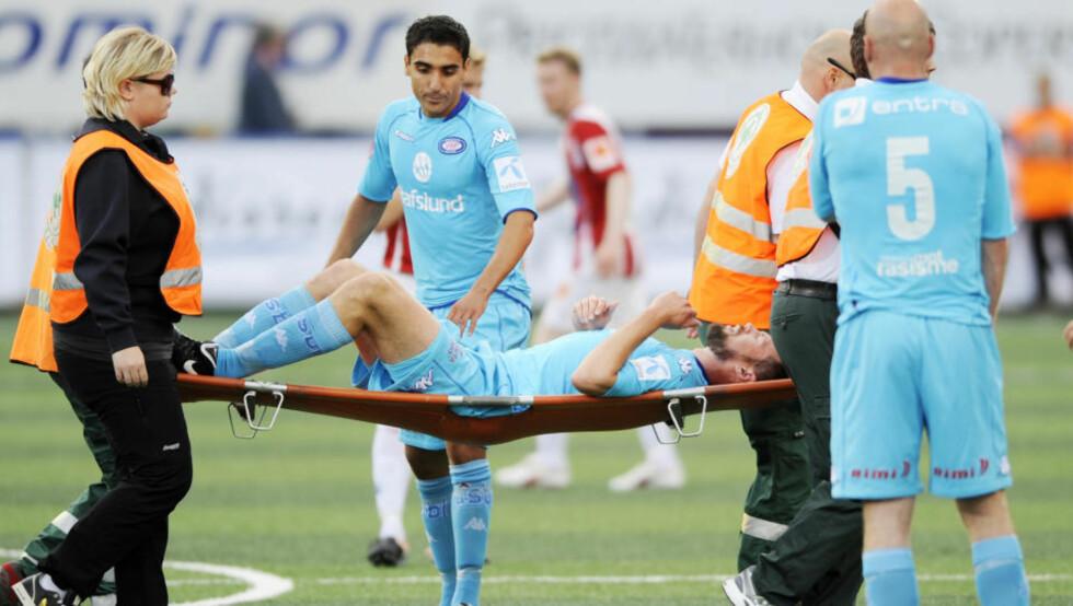 USIKKER: André Muri vet ennå ikke når han kan spille igjen, etter at han i går pådro seg en vridning i leggen. Foto: THOMAS RASMUS SKAUG