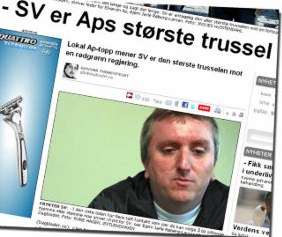 I GÅR: Elverum-politikeren mener Ap bør markere sterkere de politiske forskjellene mellom Ap og SV. Skjermdump: Db.no