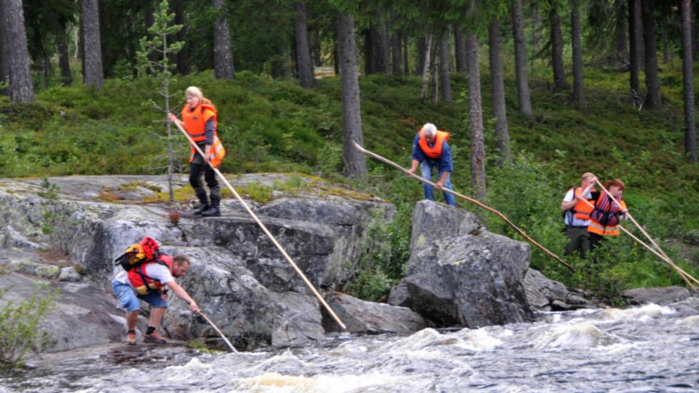 SØKER MED STAKER: Mannskapene bruker lange staker når de leiter etter jenta langs elvebredden. Foto: Audun Hasvik