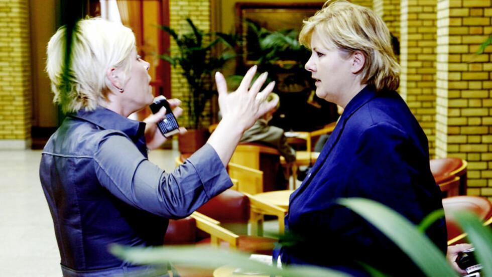 TRØBBEL INNAD: Siv Jensen tar et oppgjør med Høyres valgstragi der de vil gjøre Norges forhold til EU til en fanesak. Foto: Jacques Hvistendahl / Dagbladet