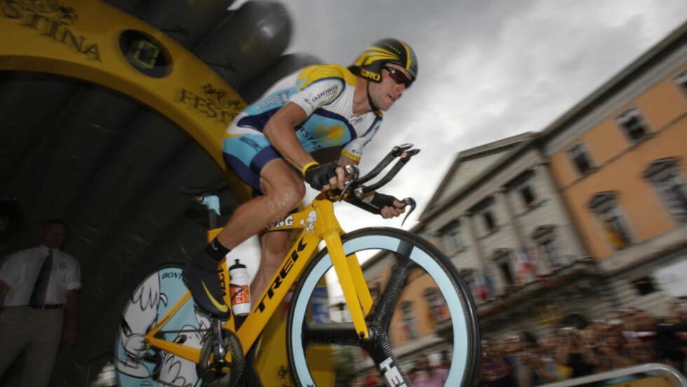 KOMMER TIL OSLO: Lance Armstrong kommer til Oslo 19. august for å sykle kriteriumsrittet Oslo Grand Prix.Foto: SCANPIX/AP Photo/Christophe Ena
