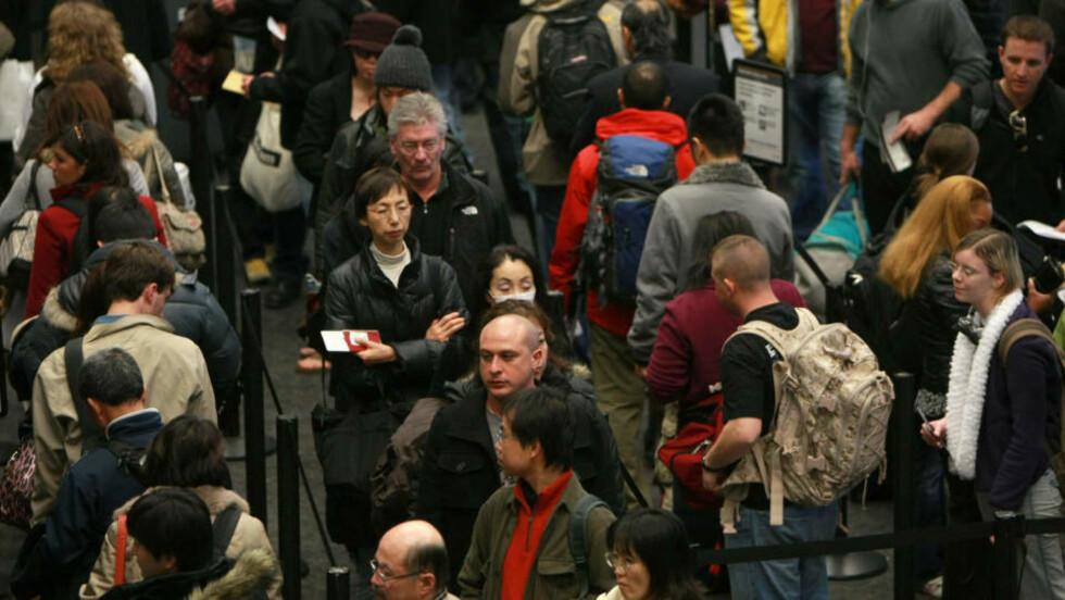 KAN BLI KØ og kaos på britiske flyplasser dersom det blir streik blant passkontrollørene.  Justin Sullivan/Getty Images/AFP