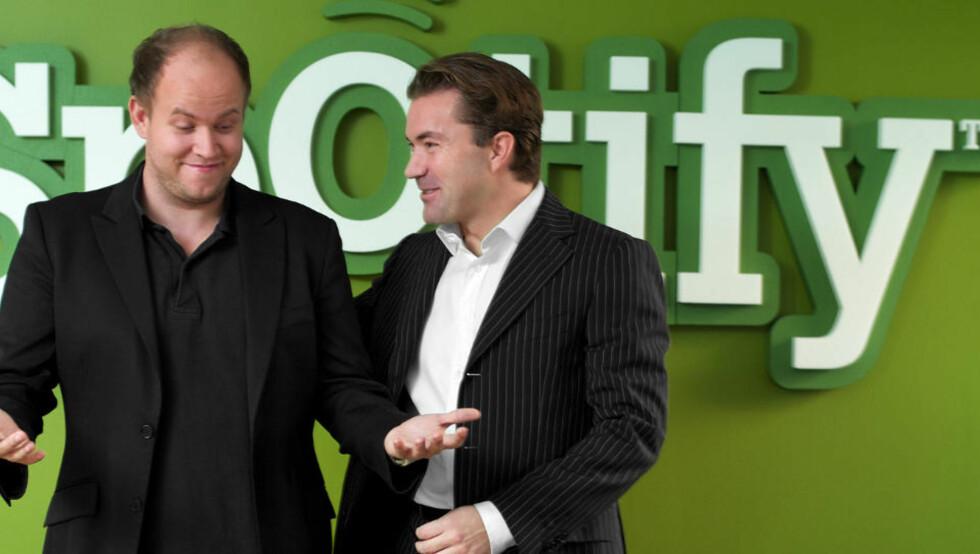 VIL INN HOS KONKURRENTEN: Spotify-grunnleggerne Daniel Ek og Martin Lorentzon håper  å få komme inn på Apples iPhone i løpet av kort tid.