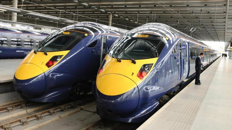 JAVELIN: Londons nye Javelin-tog på stasjonen King Cross. Foto: AP Photo / Ian West, pool/Scanpix