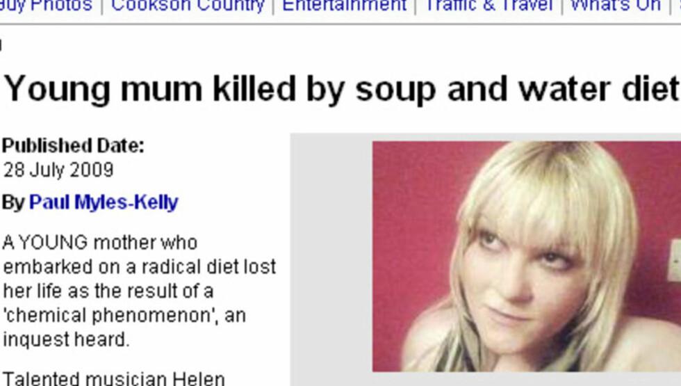 OMKOM: Helen Anderson døde etter å ha slanket seg 40 kilo på 13 uker. Foto: Faksimile Shields Gazette.