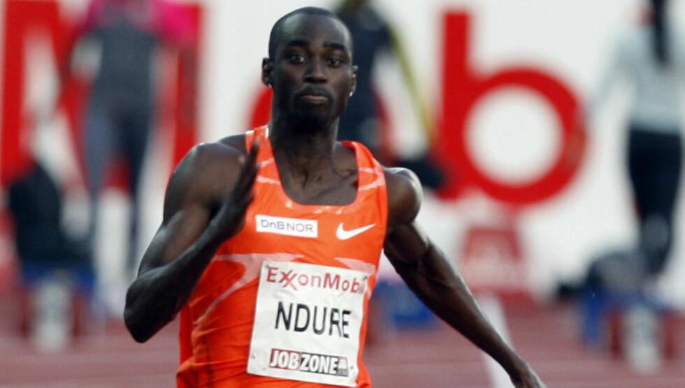 LEVERTE ÅRSBESTE: Jaysuma Saidy Ndure løp inn til 5.-plass i Stockholm. Tyson Gay utklasset konkurrentene. Foto: Tor Richardsen / SCANPIX .