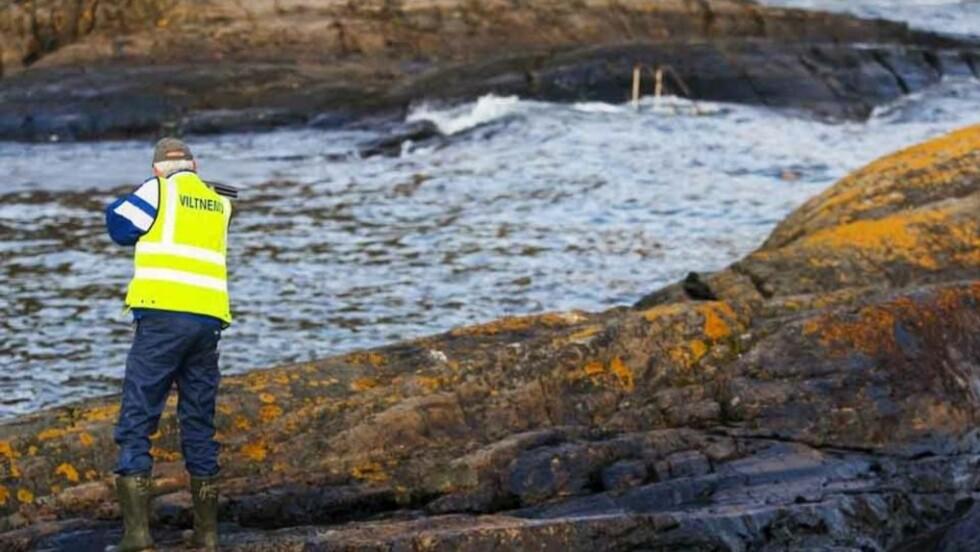 SKYTER: En representant fra viltnemnda i Bamble skyter her en oljeskadd ærfugl. Foto: PER FLÅTHE