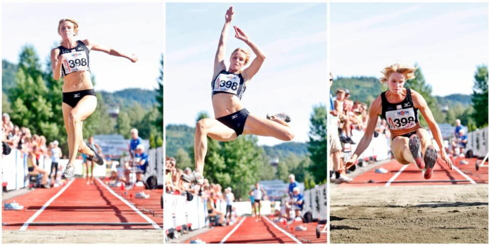 REKORDHOPP: Berit Berthelsens 6,56 hadde stått som norsk rekord i lengde på kvinnesiden inntil Margrethe Renstrøm hoppet 6,64 under NM på Lillehammer.Foto: Kyrre Lien / SCANPIX