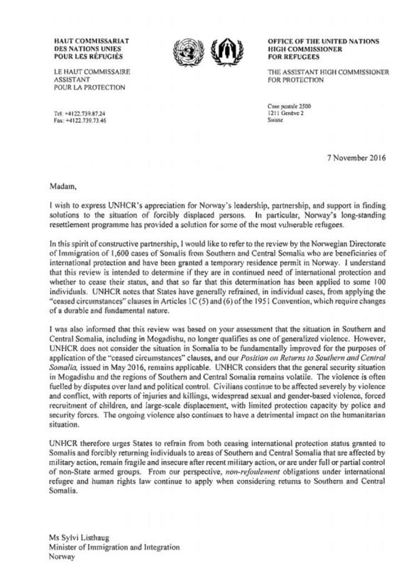 FN ber Listhaug om å ikke sende ut somaliske flyktninger med tvang