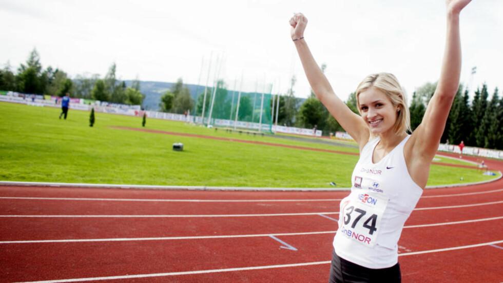 I RUTE: Christina Vukicevic vant 100 meter hekk for kvinner under NM i Friidrett på Lillehammer. Hekkeløperen bedyrer at hun er i rute til VM i Berlin. Foto: Kyrre Lien / SCANPIX
