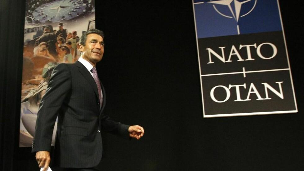 FØRSTE DAG PÅ JOBBEN: Den tidligere danske statsministeren Anders Fogh Rasmussen holdt i dag sin første tale som Natos generalsekretær. Foto: Yves Herman/Scanpix/Reuters
