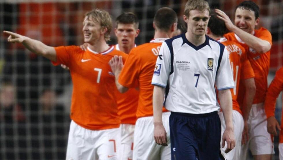 TAPTE OGSÅ MOT NEDERLAND: Skottlands Darren Fletcher depper etter nederlaget i Amsterdam i mars. Foto: REUTERS/Michael Kooren